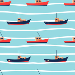 Summer blue seamless pattern with cute boats. Nautical background. Ocean or sea sail print. Vector