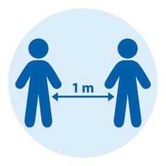 Fototapete - Social distancing between two people. 1 meter vector illustration.