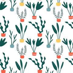 Seamless pattern with abstract pot flowers. Cartoon print with plants.