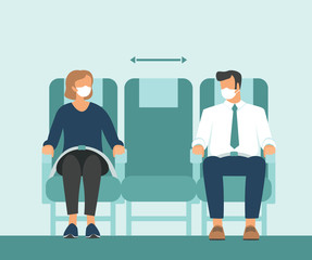 Passengers wearing protective medical masks travel by airplane. New seating regulations on flights. Travel during coronavirus COVID-19 disease outbreak.