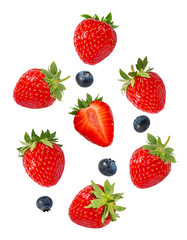 Fototapete - Strawberry with blueberries isolated on white background