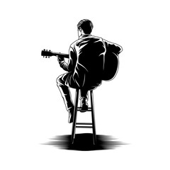 Man playing guitar illustration vector