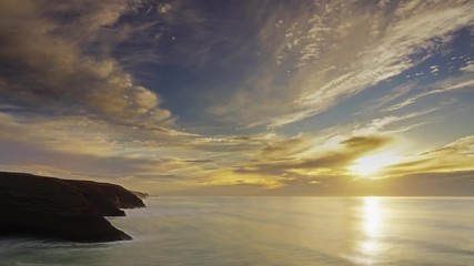 Fototapete - Beatiful landscape with sunset in Atlantic ocean, Morocco coast, Africa, timelapse 4k