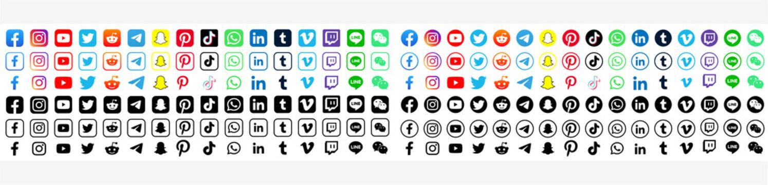 Facebook, twitter, instagram, youtube, reddit,telegram,snapchat, pinterest, tiktok logo.  Facebook, twitter, instagram, youtube, reddit,telegram,snapchat, pinterest, tiktok logotype