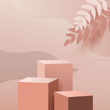 minimal scene with geometric forms. box cube podiums in cream background with paper leave on column. Scene to show cosmetic product, Showcase, shopfront, display case. 3d vector illustration.