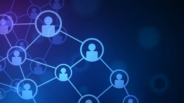 Blue diagram of social network and online contacts with user icons
