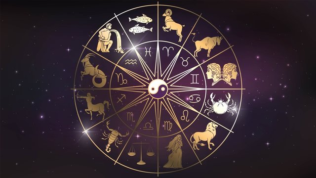 Golden wheel chart with zodiac signs in space, astrology and horoscope