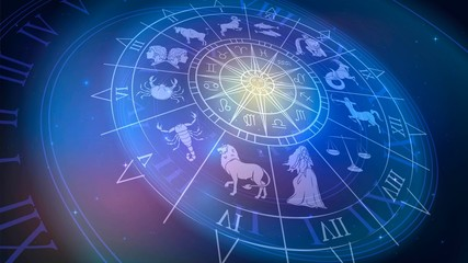 Obraz Wheel chart with zodiac signs in space, astrology and horoscope - fototapety do salonu