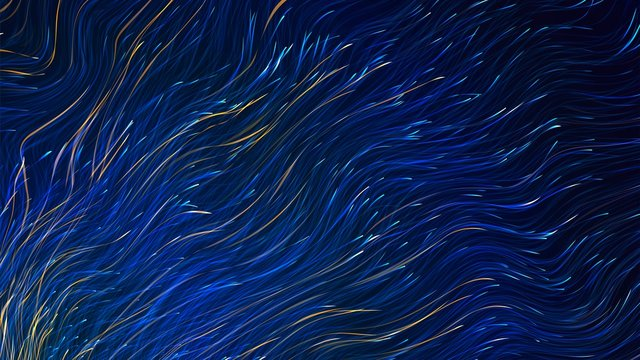 Abstract background with luminous wavy lines, stylized starry sky pattern
