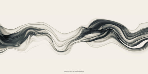 Abstract black wave by transparent liquid or smoke fluid flowing isolated on white background.