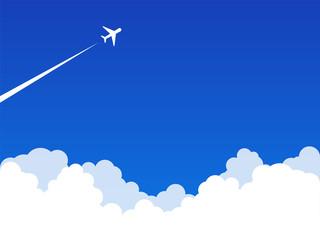 Poster de jardin Bleu fonce 雲 飛行機雲 青空 背景素材