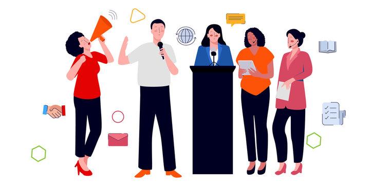 public speaking characters set. design vector illustration concept of public speaking