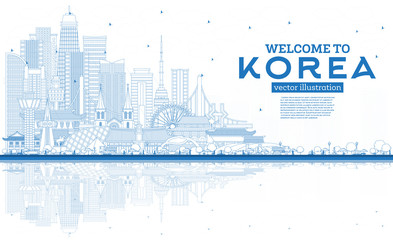 Fototapete - Outline Welcome to South Korea City Skyline with Blue Buildings and Reflections.