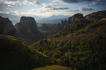 Beautiful Sunrise in the valley of Meteora in Greece