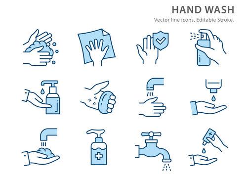 Hand washing flat line icon set. Vector illustration. Editable stroke.