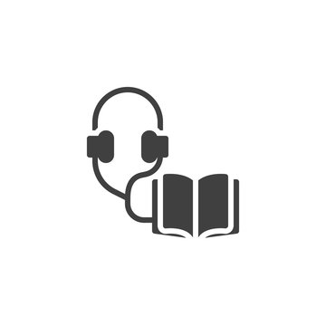 Audio guide vector icon. Open book and headphones filled flat sign for mobile concept and web design. Audio book glyph icon. Symbol, logo illustration. Vector graphics