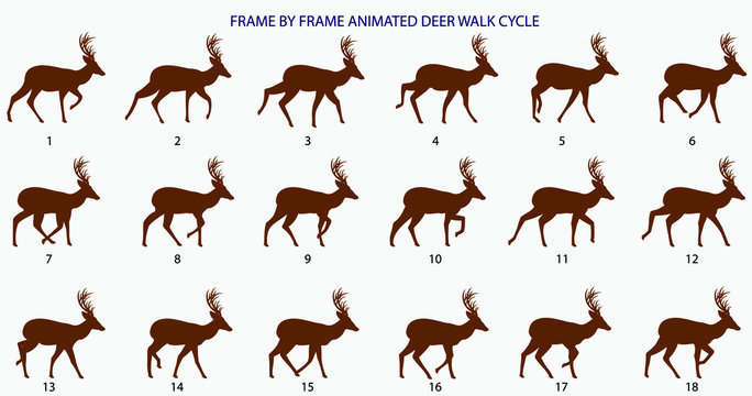 Deer Walk-cycle Silhouette Vector Illustration, Frame by Frame Animation for 2D Animation, Motion Graphics, InfoGraphics