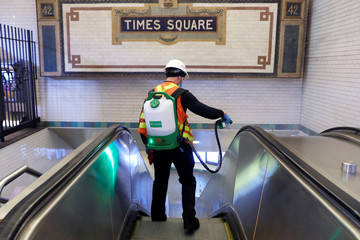 The New York City MTA Subway closes over night for cleaning during the outbreak of the coronavirus disease (COVID-19) in Manhattan, New York City