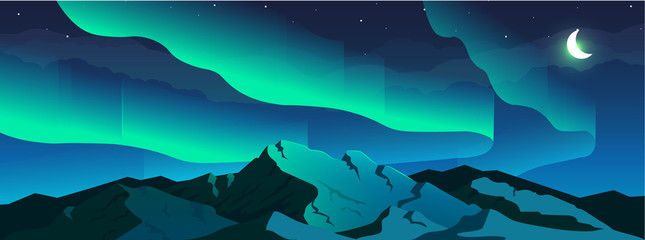 Aurora borealis phenomenon flat color vector illustration