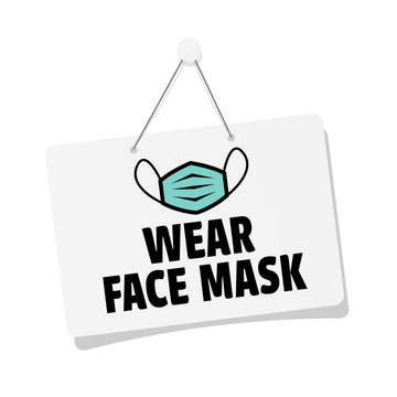 Wear face mask door sign hanging