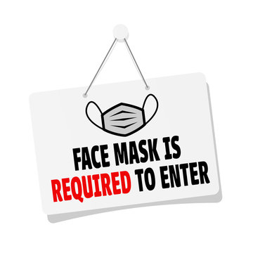 Face mask is required to enter door sign hanging