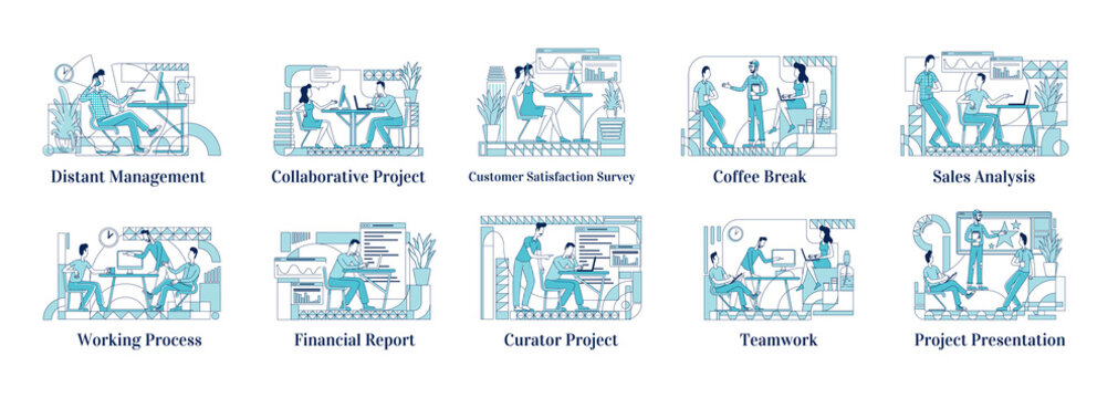 Office employees at work flat silhouette vector illustrations set. Distant manager, corporate coworkers outline characters on white background. Financial report, teamwork simple style drawings pack