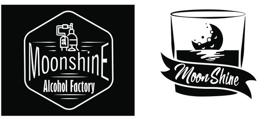 Vintage design of moonshine label with ethnic elements in the style of thin line, bourbon, moonshine and brandy. Black and white vintage logo or label options. Monochrome, black on white. white on bla