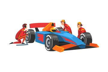 Keuken foto achterwand Hoogte schaal Pit Stop Crew Members in Uniform Changing Tire Wheels, Professional Mechanics Cartoon Characters Vector Illustration