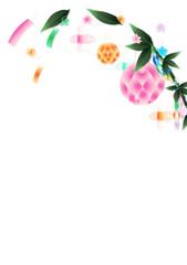 七夕飾り笹の葉にキラキラした大きいあみ飾りのイラスト縦スタイル背景素材