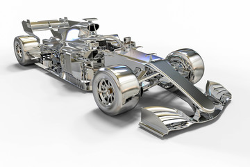 3D render image of a race car made of metal or chrome