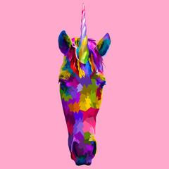 colorful unicorn front faces on pop art