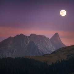 Anboto mountain at night with moonlight