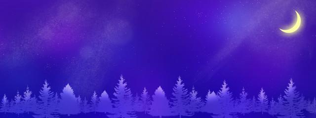 Foto op Plexiglas Violet 星空に浮かぶ新月と木々