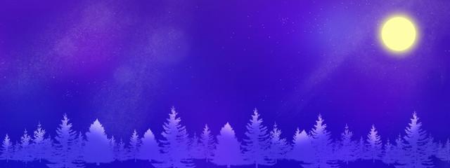 Foto op Canvas Violet 星空に浮かぶ満月と木々