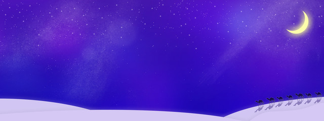 星空に浮かぶ新月と砂漠のラクダ