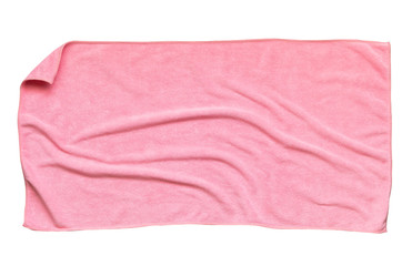 Pink beach towel isolated white background