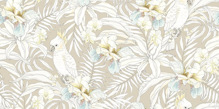 Parrot Cockatoo with flowers Orchid, Fleur de lis and leaves. Vector seamless pattern, tropical illustration in vintage style on beige background.