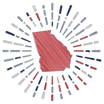 Sketch map of Georgia. Sunburst around the us state in flag colors. Hand drawn Georgia shape with sun rays on white background. Vector illustration.