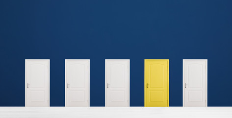 Yellow door among white ones in room. Concept of choice