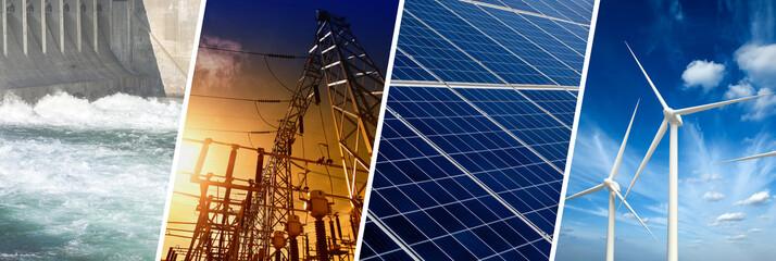 Renewable Energy concept, collage banner Fototapete
