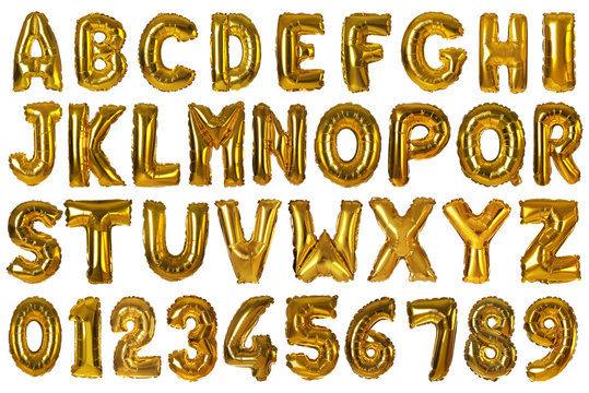 Set with golden foil balloons in shape of letters and numbers on white background