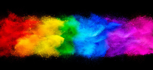 Poster Form colorful rainbow holi paint color powder explosion garland banner isolated dark black wide panorama background. peace rgb beautiful party concept