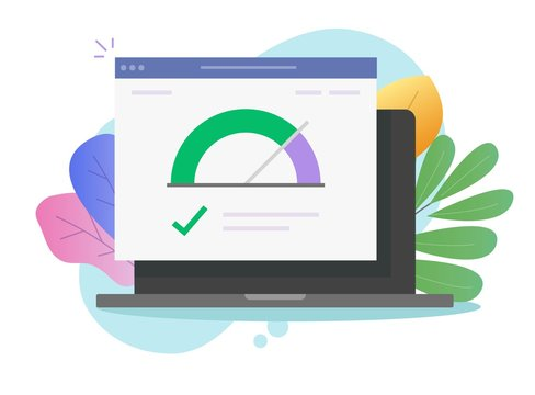 Speed of website internet page loading or computer laptop seo optimization web site performance test check icon vector flat, concept of pc load time speedometer software tool for downloading score