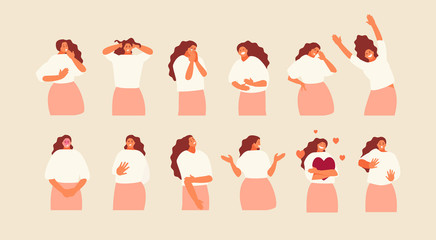 Set girl character with different emotions and gestures. Vector illustration