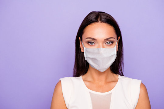Safety first of all. Close up photo beautiful amazing lady perfect appearance visage maquillage wear formal wear dress protective mask isolated violet purple background