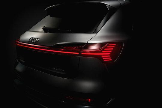 Ukraine, Kyiv - May 5, 2020 : Audi e-tron details