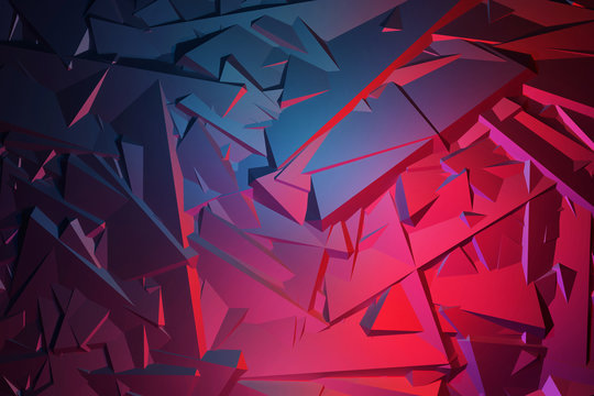 3D Seamless pattern asymmetric and geometric shaped abstract background, colorful gradients cracked shapes.