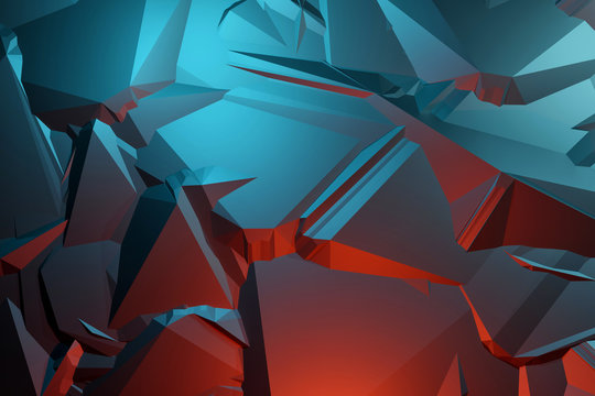 3D pattern asymmetric and geometric shaped abstract background, colorful gradients cracked shapes.