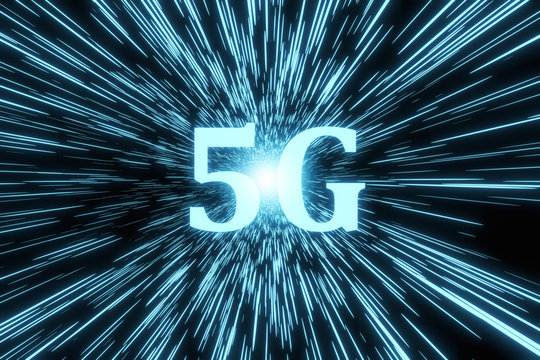 3D Illustration of marketing the 5G fifth generation communication technology on digital blue and black background.