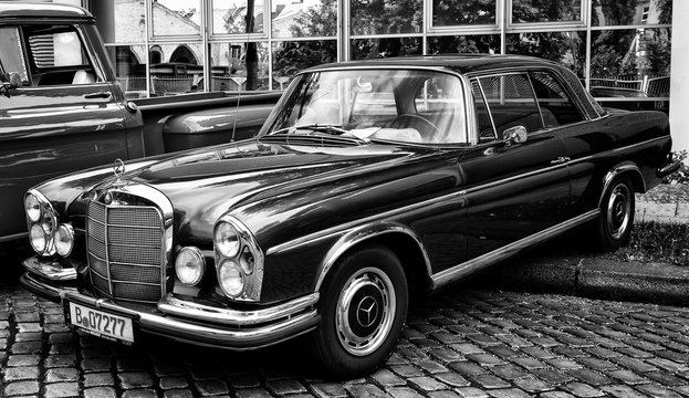 BERLIN - MAY 11: Mercedes-Benz W108 (black and white), 26. Oldtimer-Tage Berlin-Brandenburg, May 11, 2013 Berlin, Germany